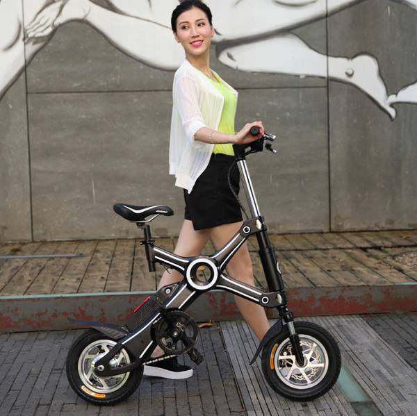 Black Popular 500W Two Wheel foldable electric bicycle with Brake